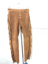 Men New Native American Style Faux Brown Suede Leather Fringes Hippie Pant P22 image 4