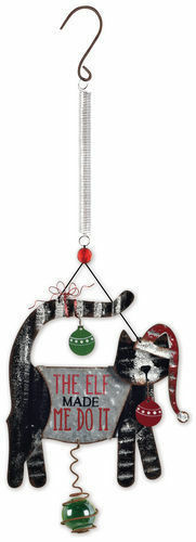 """The Elf Made Me Do It"" Christmas Holiday Cat Bouncy Garden Hanging Sign"