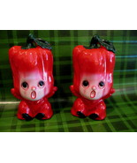 Anthropomorphic Red Peppers Salt and Pepper Shakers Set Vintage Collector  - $24.95