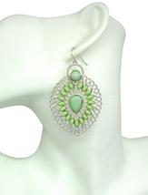 Women new silver milky kiwi green stone filigree tear drop hook pierced ... - $23.35 CAD