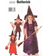 Butterick 3242 P481 Girl's Witch Dress Hat Halloween Costume Pattern 2-5 - $9.95