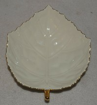 Vintage Lenox Ivory Leaf Trinket Candy Dish Gold Trim Made in Japan - $23.36