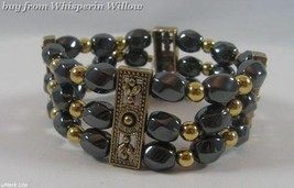 3 Strand Magnetic Hematite and Antiqued Gold Bracelet - $16.95