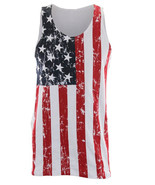 USA AMERICAN FLAG Mens Adult Distressed Tank Top Stars And Stripes New S... - $14.95