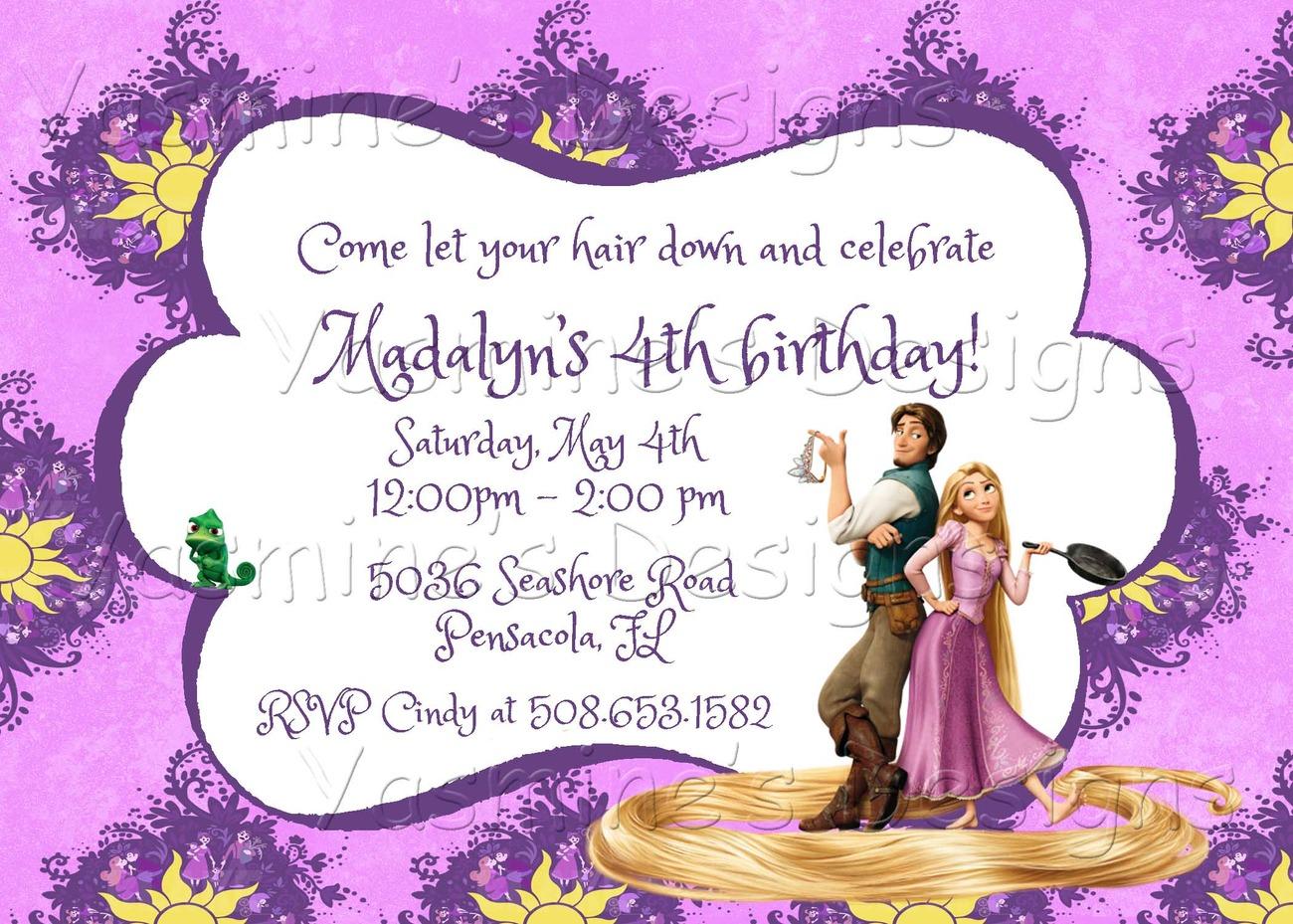 Tangled Birthday Invitation Rapunzel and 50 similar items – Rapunzel Party Invitations