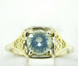 Rare 14k Yellow Gold Filigree Ring w/1.14ct Genuine Natural Aquamarine (#J2542) - $650.00