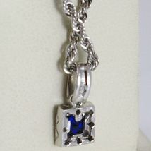 18K WHITE GOLD NECKLACE ROPE CHAIN & SQUARE PENDANT, BLUE ZIRCONIA PRINCESS CUT image 3