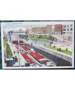 Tichnor Bros., White Border, Linen Postcard, Locks at Lockpo - $5.00