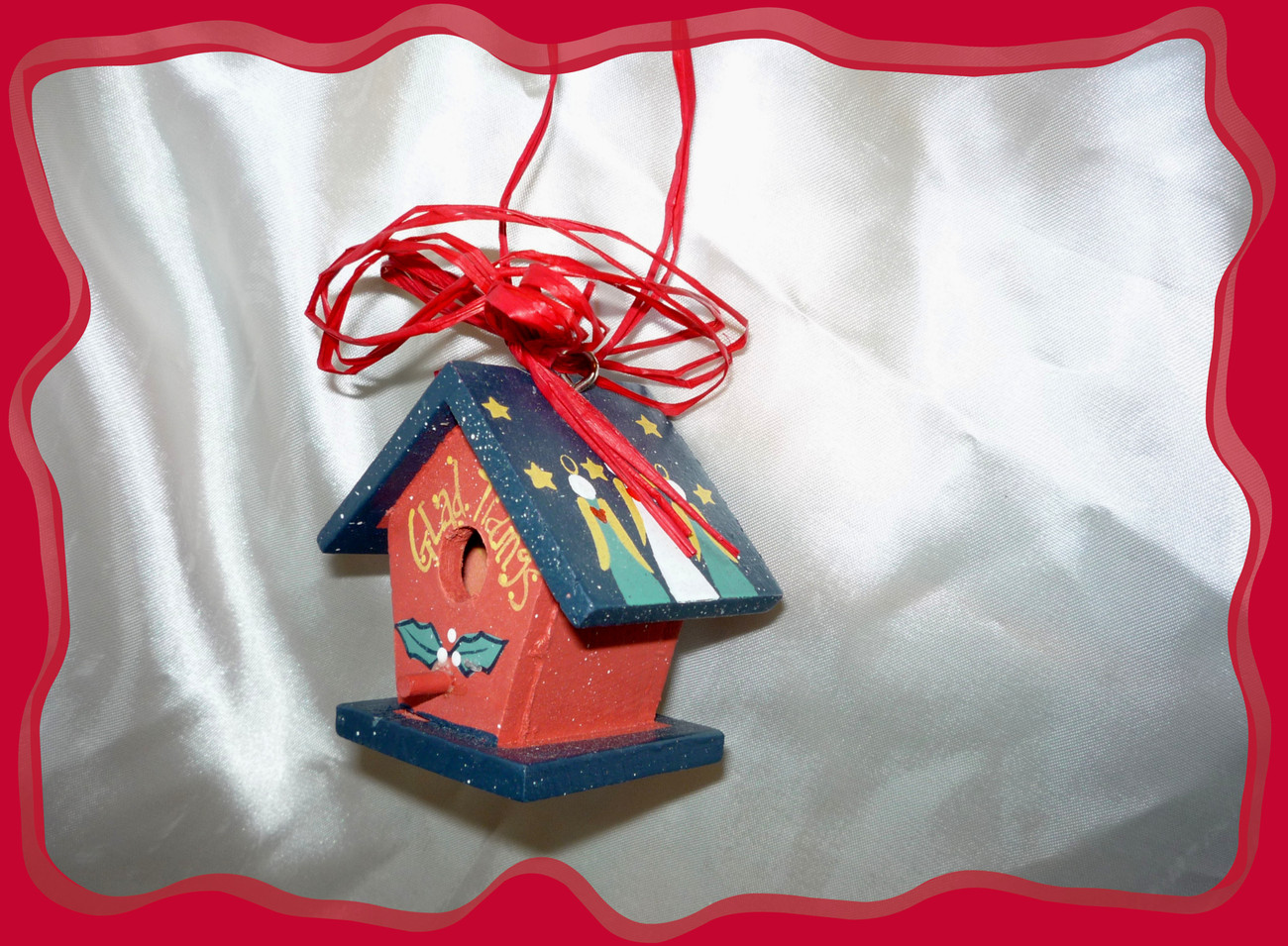 Red Raffia Painted Mini Birdhouse Holiday Ornament