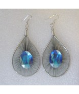 Black Thread Blue Rhinestone Teardrop Silver Wire Earrings - $4.00