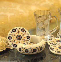 Marble Coaster Set Lapis Lazuli Semi Mosaic Inlay Work Home Kitchen Decor Gifts - $196.09