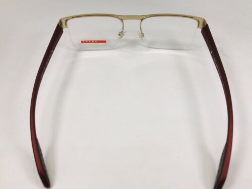 New PRADA SPORT VPS 57E QE7-1O1 Grey & Matte Burgundy Eyeglasses 53mm w/Case