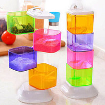 Spice Jar Four Layer Seasoning Box Colorful Rotatable Kitchen Storage Co... - £13.87 GBP