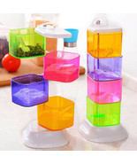 Spice Jar Four Layer Seasoning Box Colorful Rotatable Kitchen Storage Co... - £14.69 GBP