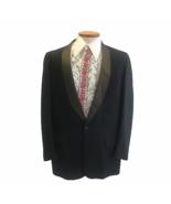 Vintage 1960s Men's Black Peso Pluma Shawl Collar Tuxedo Jacket Mid Century - $55.78