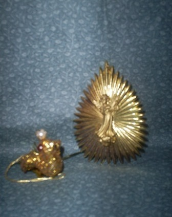 Two Vintage Christmas Collectible Ornaments, Gold Bird, Double side Angels