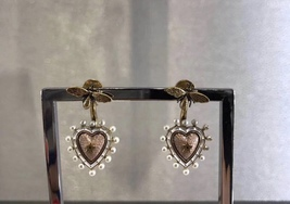 AUTHENTIC Christian Dior 2019 J'ADIOR Pink Heart Dangle Earrings Aged Gold  image 3