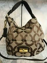COACH Signature Tan/Brown Large Shoulder/Cross Body Bag $258 - $116.82