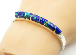 MEXICO 925 Silver - Vintage Azurite Decorated Shiny Bangle Bracelet - B6266 - $98.23