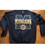 VTG MICHIGAN WOLVERINES PLAID CREWNECK SWEATSHIRT NCAA USA Tartan XL Wom... - $22.79