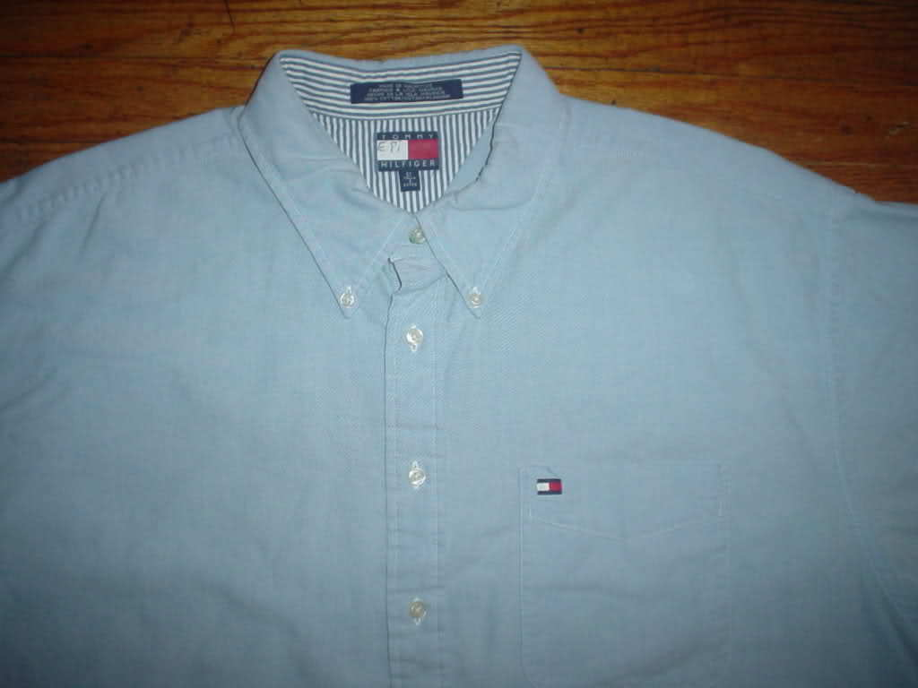 Tommy Hilfiger TH Light Sky Baby Blue Button Front Down Up Shirt 2xl XXL