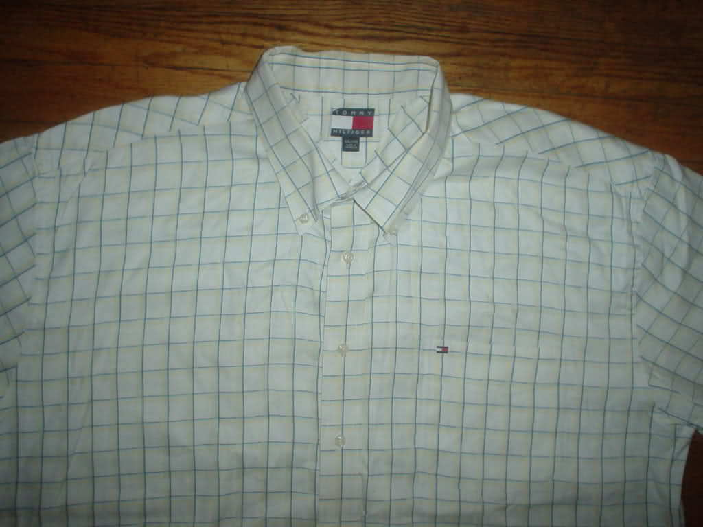 Tommy Hilfiger TH White Yellow Blue Button Front Down Up Short Sleeve Shirt 2xl