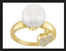 Emulous White Cultured Freshwater Pearl Bella Luce18k Plated Gold Ring 9  - $28.71