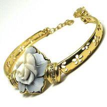 925 Silver Bracelet, Cameo, Shell Cameo, Pink, Flower, Semi Hard image 4