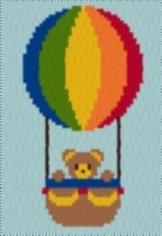 Latch Hook Rug Pattern Chart: BALLOON BEAR - EMAIL2u - $5.75