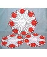 3 vintage Hand Crocheted Doilies Doily Set White Red Flowers Centerpiece - $18.00