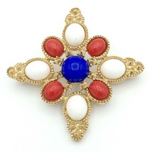 SARAH COVENTRY Americana patriotic cross pin - red white blue brooch book pc D&E - $19.60