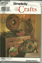 Simplicity Sewing Pattern 8159 Christmas Wreath Skirt Ornaments Stocking... - $9.98