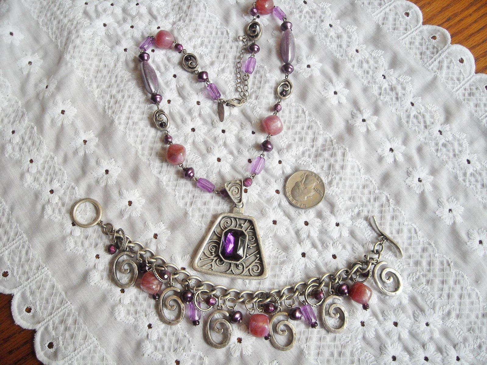 Vintage Necklace & Dangle Charm Bracelet Faux Stone & Pearl Purple Rhinestone
