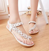 Women's Fashion Sweet Beaded Flower Clip Toe Flat Bohemian Herringbone Sandals