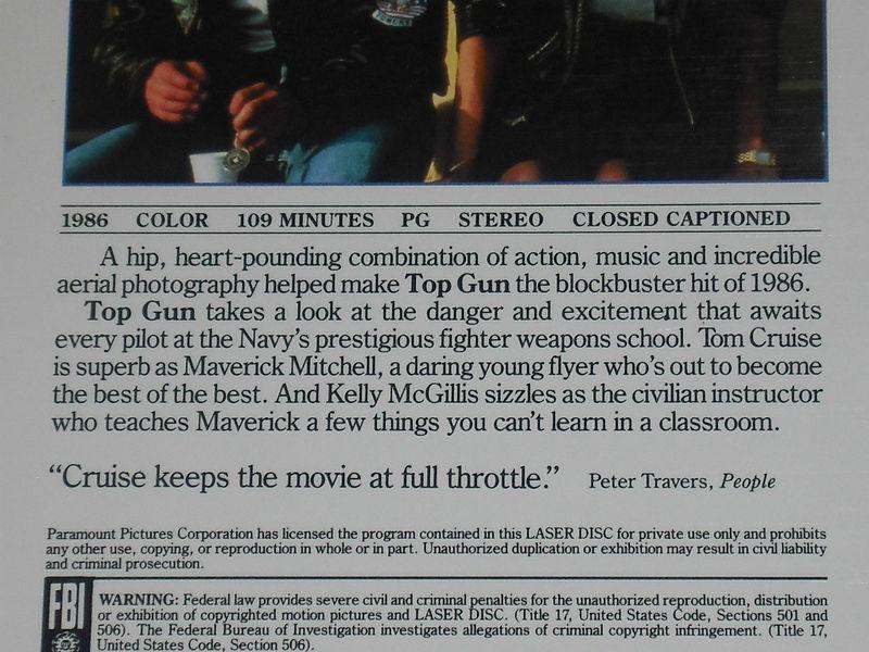 Top Gun Extended Play LaserDisc Paramount Tom Cruise