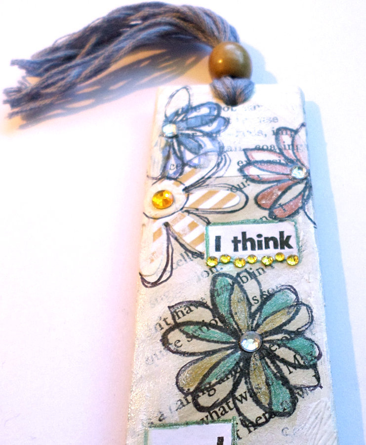Bookmark - Mixed Media Collage Mini Wall Art - Small Hanging Art - Reader's Gift