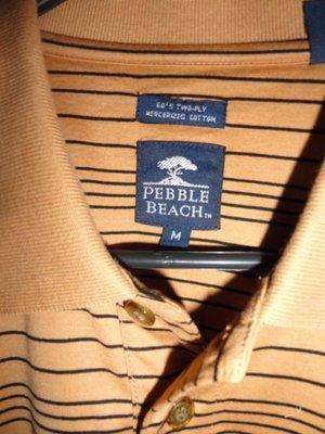 Men's Pebble Beach 60's Two Ply Mercerized Cotton Dark Tan & Black Stripe Polo M