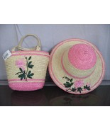 LOVELY Pink color Spring summer party straw girl's hat/ purse set age 2-5 - $4.99