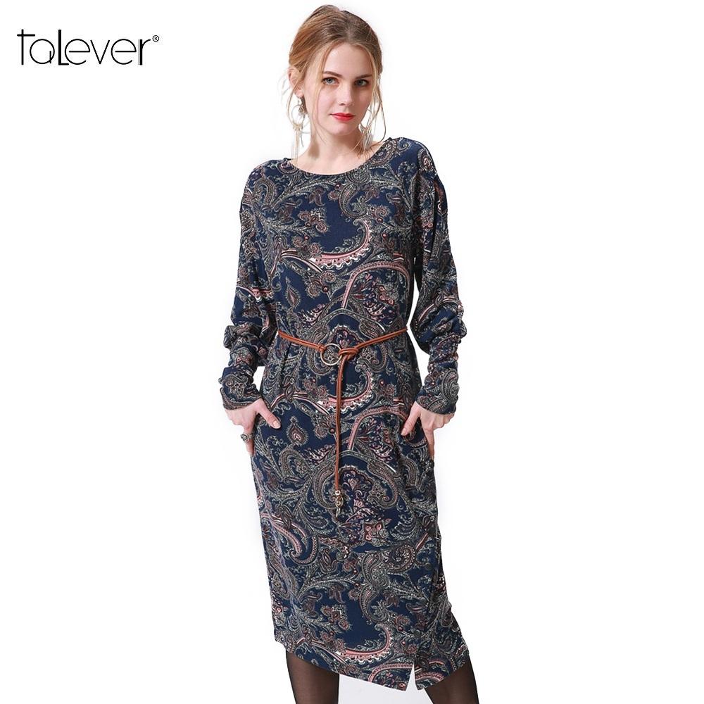 Talever Women Dress Casual Long Puff Sleeve O-Neck Plus Size Dresses Ladies Spri