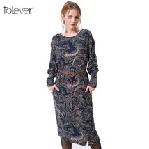 Talever Women Dress Casual Long Puff Sleeve O-Neck Plus Size Dresses Lad... - $36.20