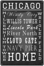 Chicago Illinois Landmarks Chalkboard Look Metal Sign 12x18 2180008090 - $34.95