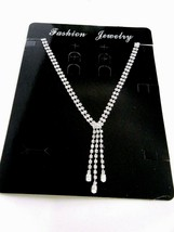 Rhinestone Silver Tone Drop Necklace Prom Wedding New with Tag - $19.75