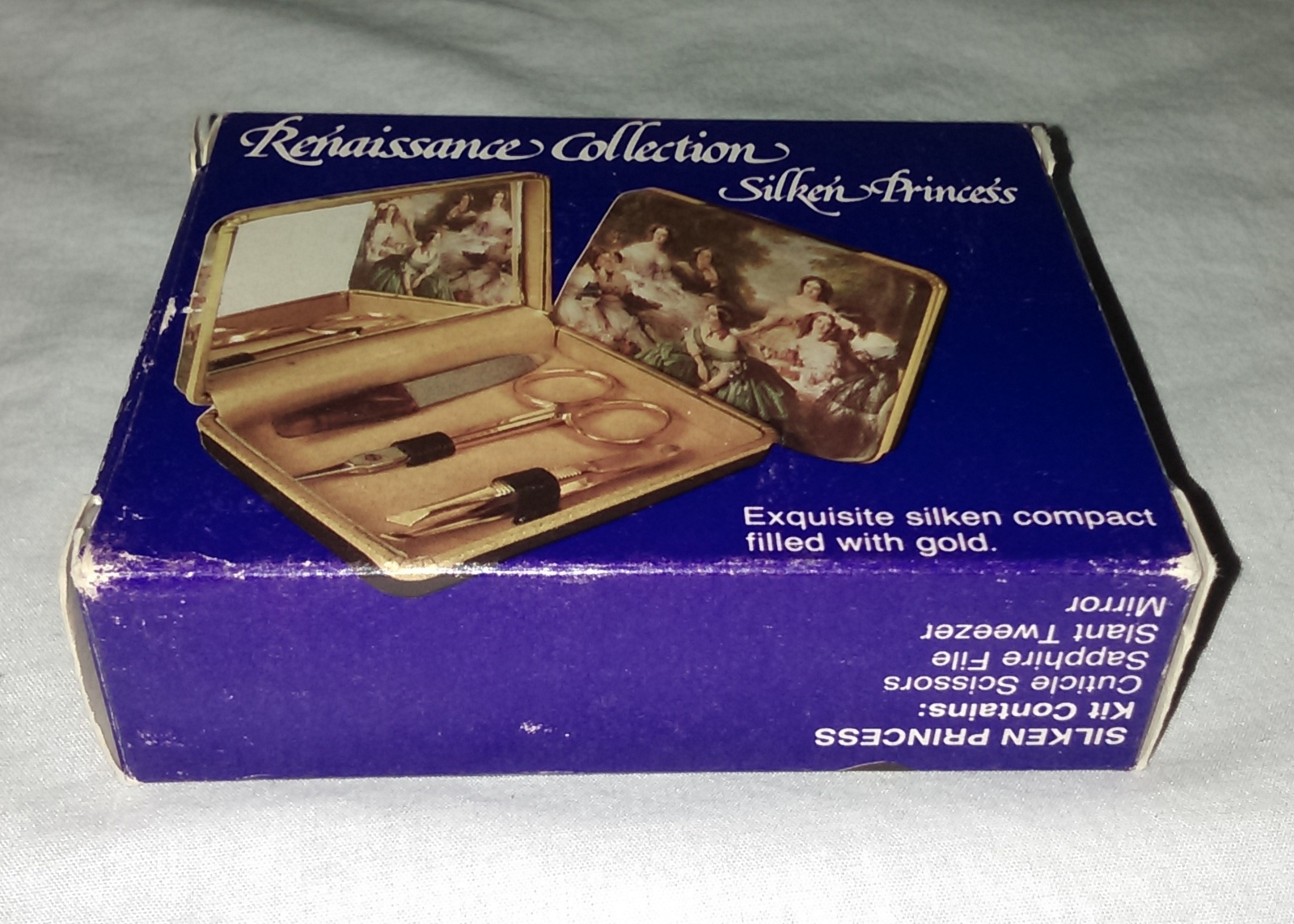 Renaissance Collection Silken' Princess Mirror Compact w/Gold Scissors Tweezer