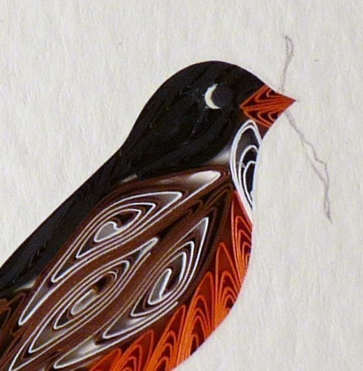 Tiny Quilled Robin