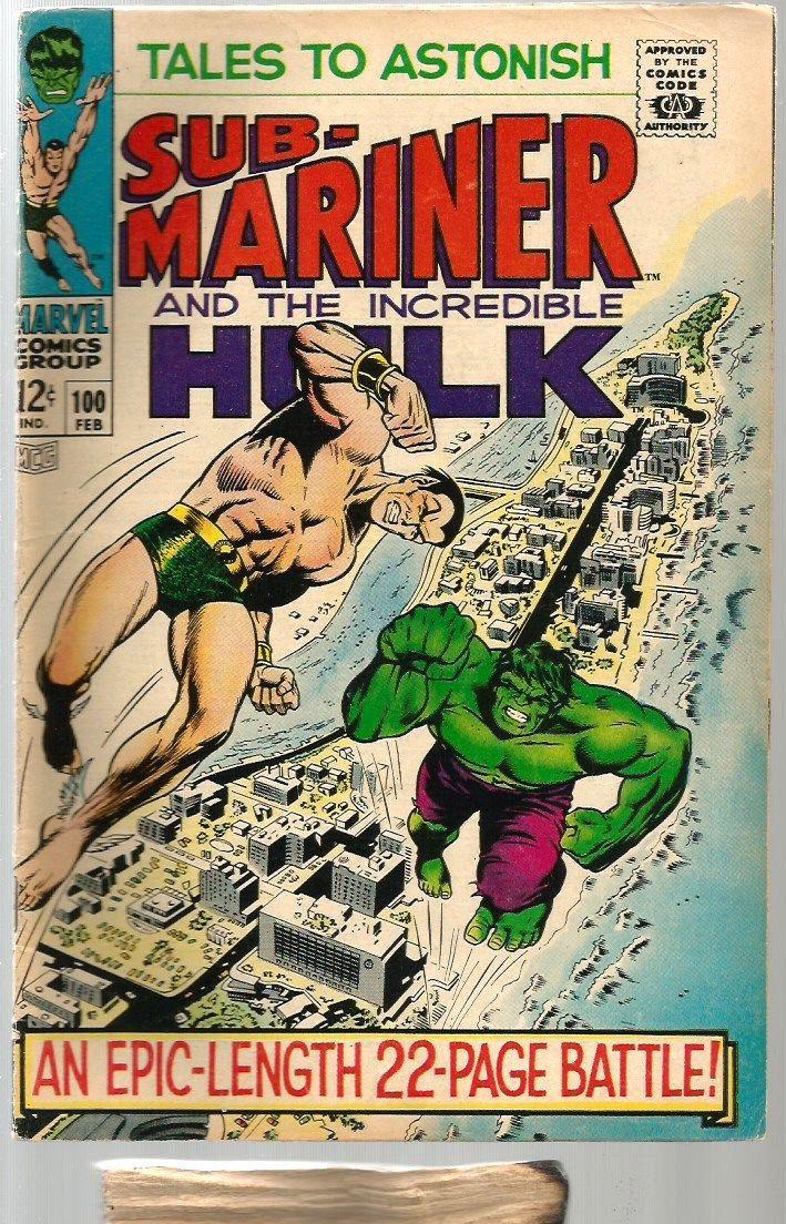 Tales To Astonish #100 Fine+ Submariner & Hulk Marvel Comics Fine Stan Lee 1967