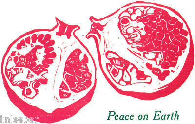Primary image for 10 HOLIDAY CARDS-PEACE ON EARTH-POMEGRANATE-ARTIST'S HAND-SET LINOLEUM PRINTS