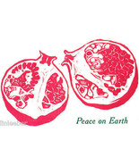 10 HOLIDAY CARDS-PEACE ON EARTH-POMEGRANATE-ARTIST'S HAND-SET LINOLEUM P... - $49.99