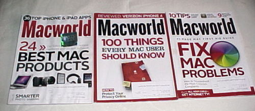 (3)MACWORLD MAGS-2011-FEBRUARY,APRIL,JUNE-BEST PRODUCTS; FIX PROBLEMS;NEW  APPS
