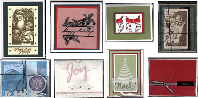 8 handcrafted Holiday CARDS with envelopes-SANTA,NOEL,JOY;BLANK INSIDE;SLEEVES