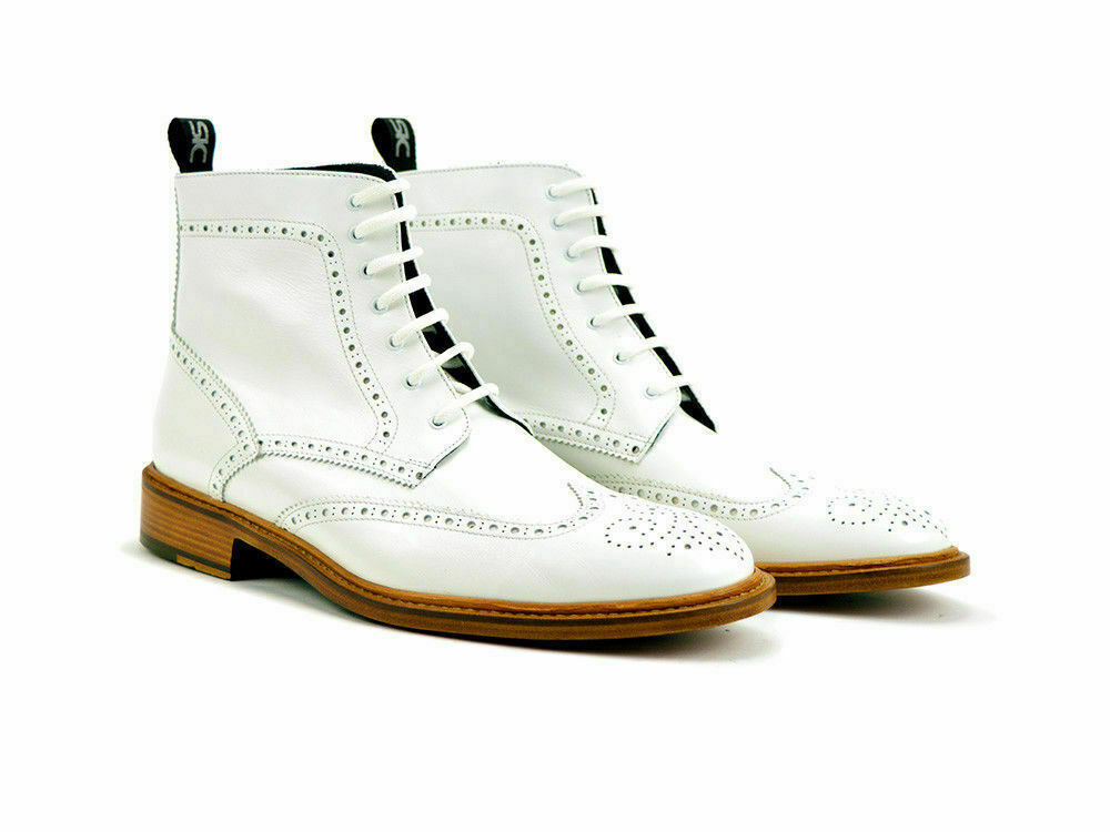 Handmade Men White brogue Wing tip ankle boots Men white lace up boots Men boots image 1
